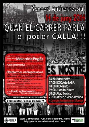 14J. Concert antirepressiu a Barcelona: quan el carrer parla, el poder calla