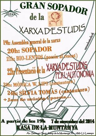 7 de novembre: Gran Sopador de la Xarxa d'Estudis per l'Autonomia