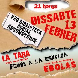 13 de febrer. Concert de suport a la Biblioteca Reconstruir de Mèxic