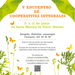 11-12 de junio. V Encuentro de Cooperativas Integrales en el Bierzo