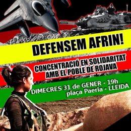 Resposta atacs turcs a Afrin: Mobilitzacions a Lleida i Barcelona pel poble Kurd